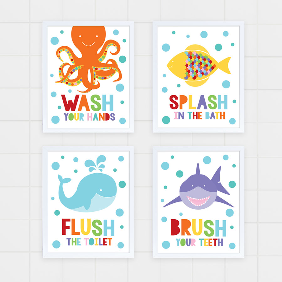 Kids Bathroom Sea Art Print Set