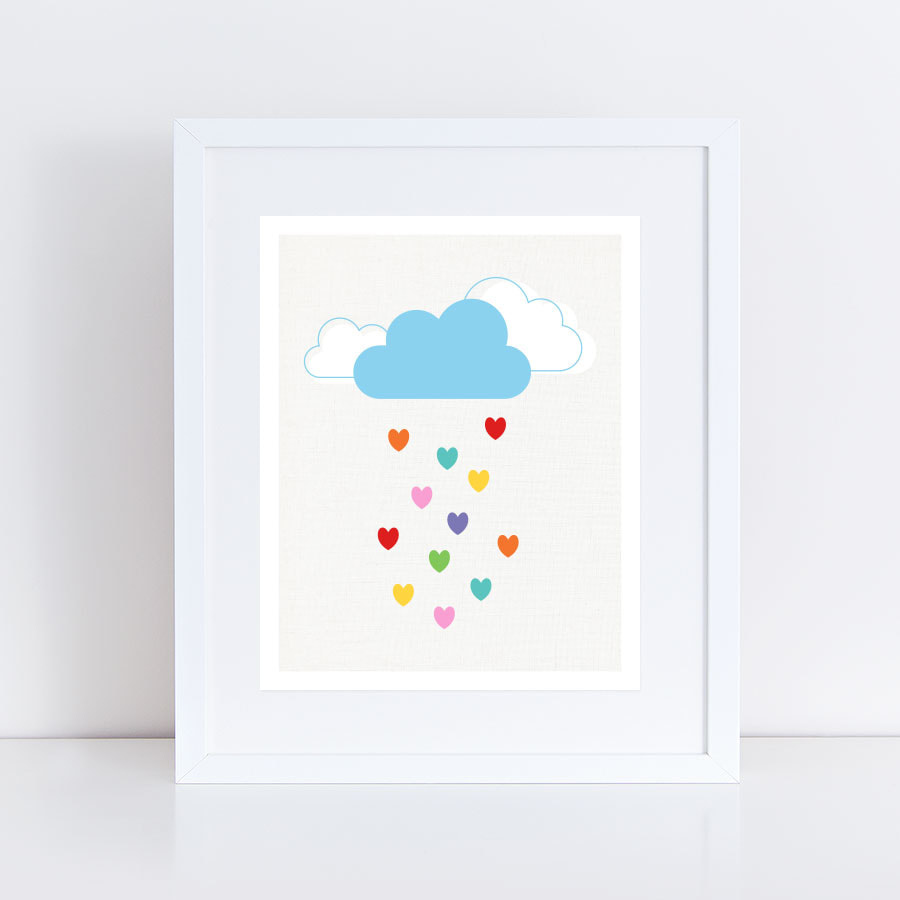 Raining hearts art print