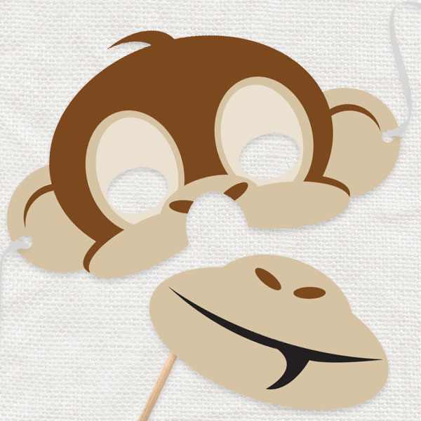 It is an image of Monkey Mask Printable with realistic